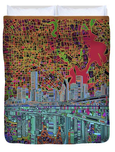 Houston Skyline Abstract 3 Duvet Cover