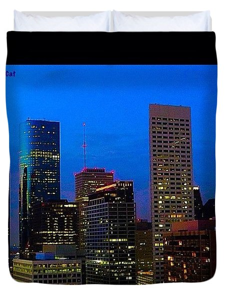 #houston #skyline At #night. #lights Duvet Cover by Austin Tuxedo Cat