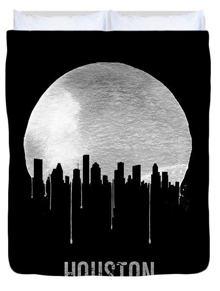 Houston Skyline Black Duvet Cover