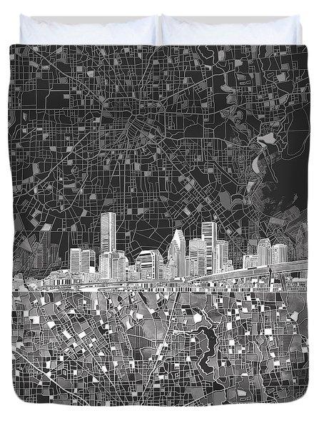 Houston Skyline Map Black And White Duvet Cover