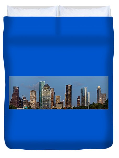 Duvet Cover featuring the photograph Houston Skyline Panorama by Jonathan Davison