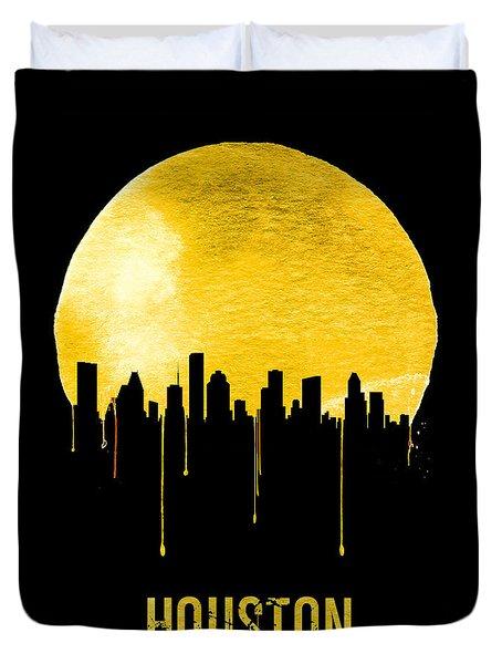 Houston Skyline Yellow Duvet Cover
