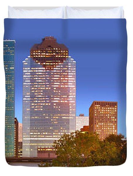 Houston Texas Skyline At Dusk Duvet Cover