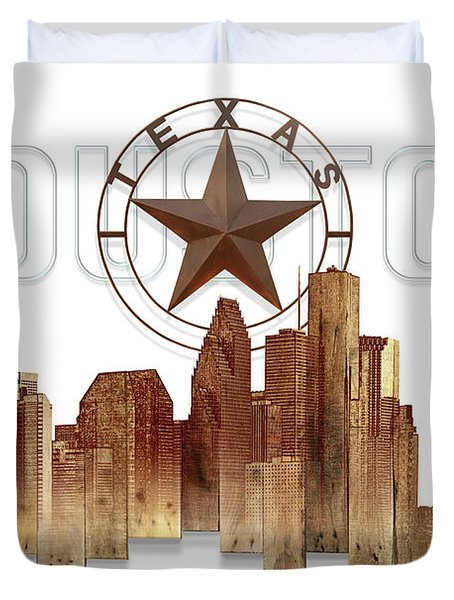 Duvet Cover featuring the painting Houston Texas Skyline by Doug Kreuger