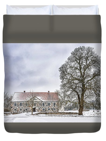 Hovdala Castle In Winter Duvet Cover