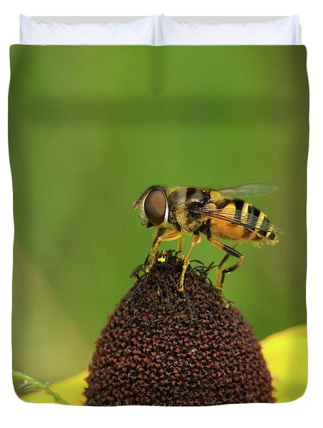 Hoverfly On Brown Eyed Susan Duvet Cover by Michael Peychich