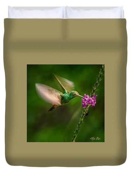Duvet Cover featuring the photograph Hovering In The Vervain  by Rikk Flohr