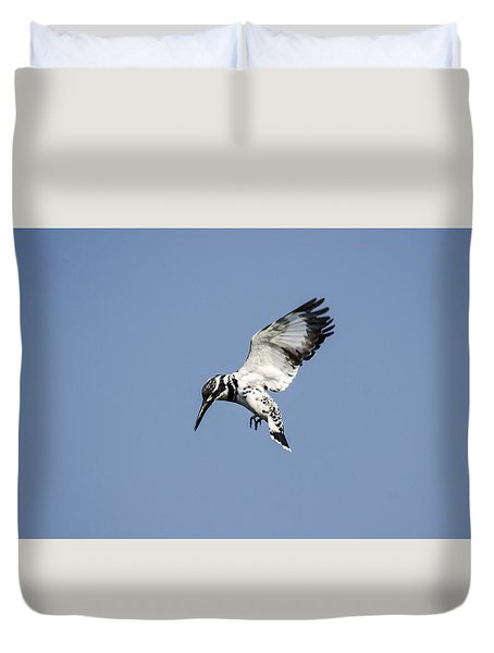 Hovering Of White Pied Kingfisher Duvet Cover
