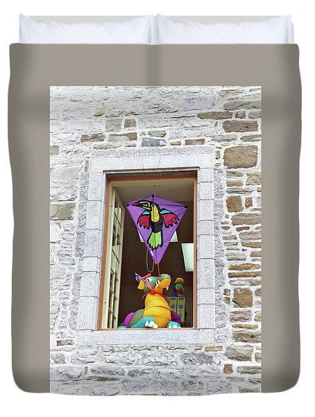 Duvet Cover featuring the photograph How Much Is That Dragon In The Window by John Schneider