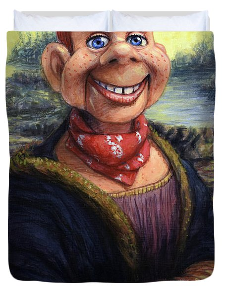 Duvet Cover featuring the painting Howdy Doovinci by James W Johnson