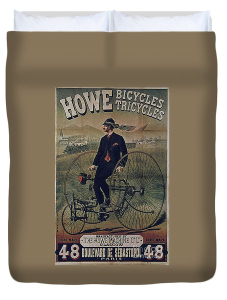 Howe Bicycles Tricycles Vintage Cycle Poster Duvet Cover