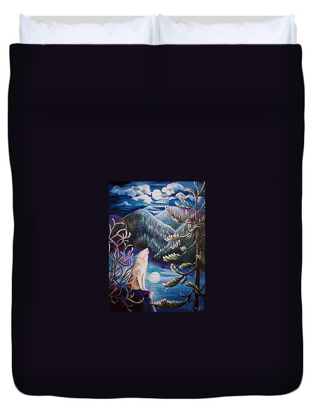 Duvet Cover featuring the painting Howlin' The Blues by Renate Nadi Wesley