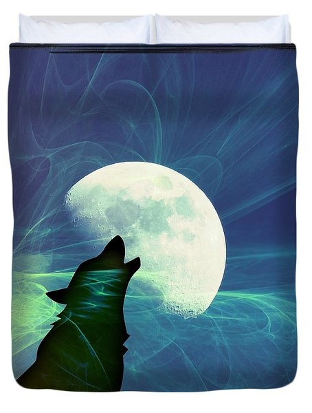 Howling Moon Duvet Cover by Amanda Eberly-Kudamik