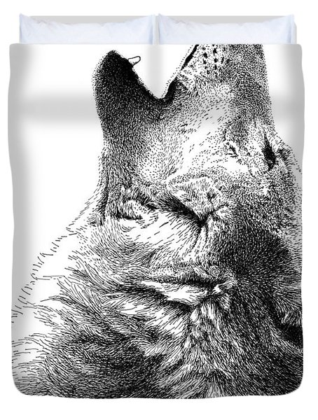 Howling Timber Wolf Duvet Cover