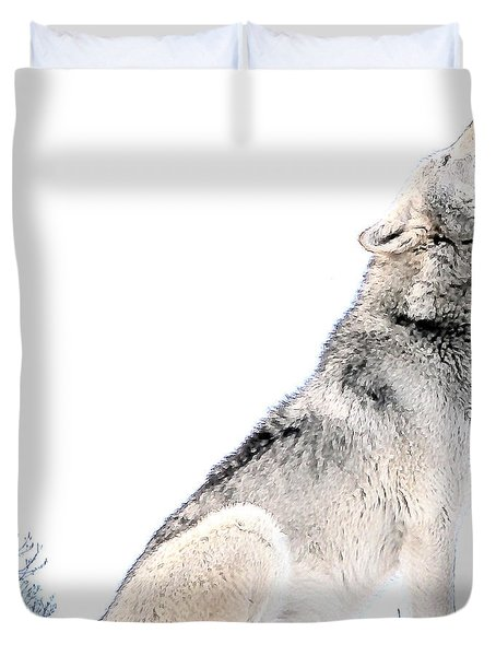 Duvet Cover featuring the photograph Howling Wolf 1 by Ericamaxine Price
