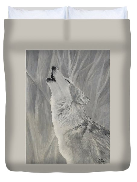 Duvet Cover featuring the painting Howling Wolf by Kevin Daly