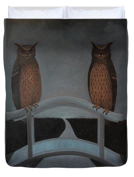 Duvet Cover featuring the painting Hu-hu-bro by Tone Aanderaa