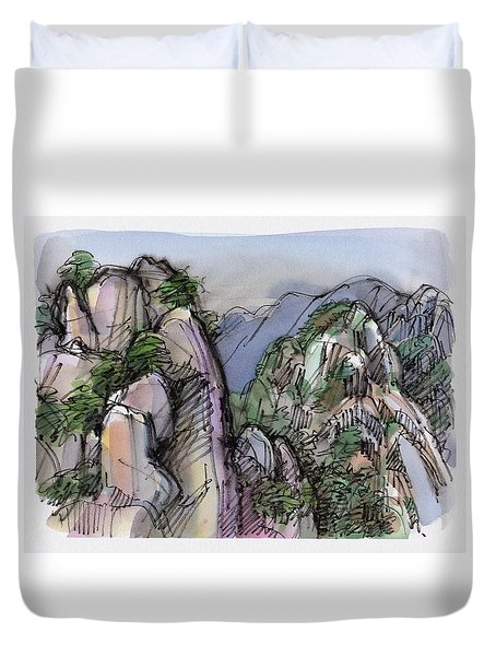 Duvet Cover featuring the painting Huangshan, China by Judith Kunzle