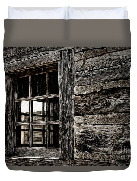 Duvet Cover featuring the photograph Hudson Bay Fort Window by Brad Allen Fine Art