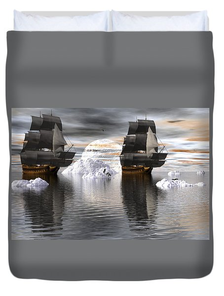 Duvet Cover featuring the digital art Hudson Bay Ships by Claude McCoy