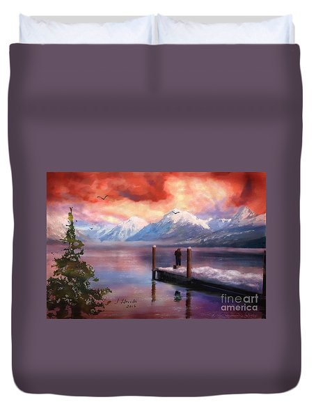 Hudson Bay Winter Fishing Duvet Cover