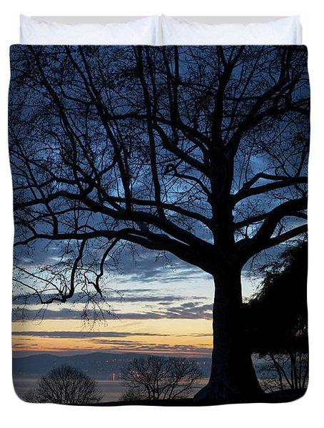 Hudson River Blue Hour In Winter Duvet Cover