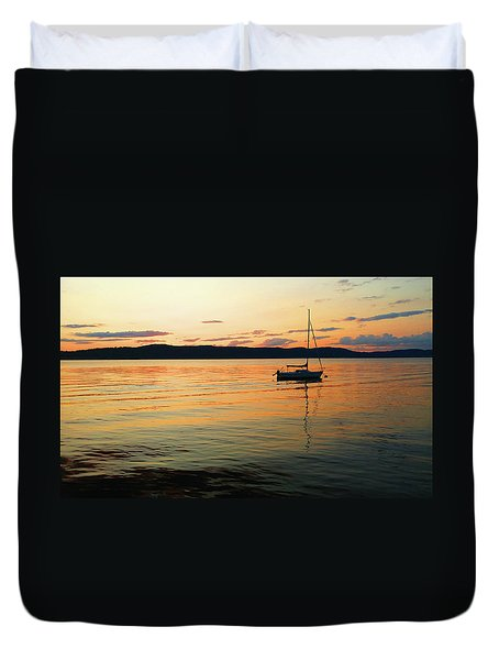 Hudson River From Irvington In Westchester County Duvet Cover