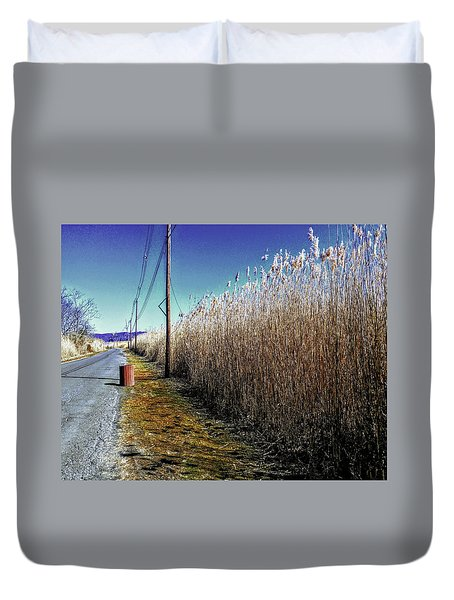 Hudson River Winter Walk Duvet Cover