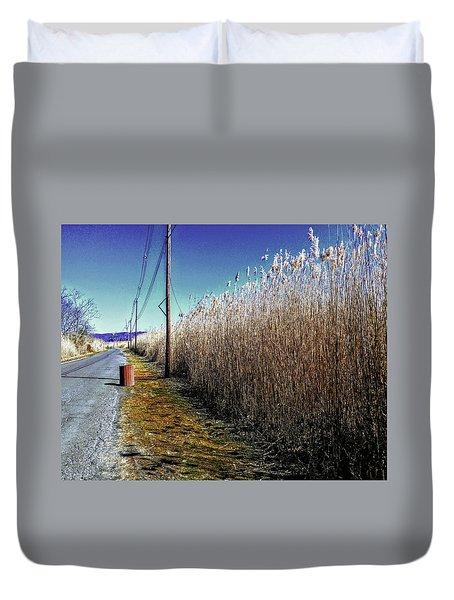 Hudson River Winter Walk Duvet Cover