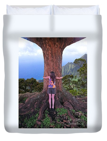 Duvet Cover featuring the photograph Hug Hawaii by Joseph J Stevens