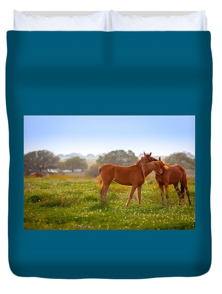 Duvet Cover featuring the photograph Hug It Out by Melinda Ledsome