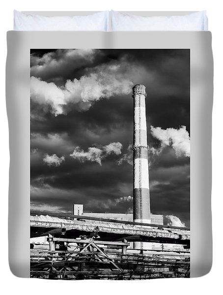 Huge Industrial Chimney And Smoke In Black And White Duvet Cover by John Williams