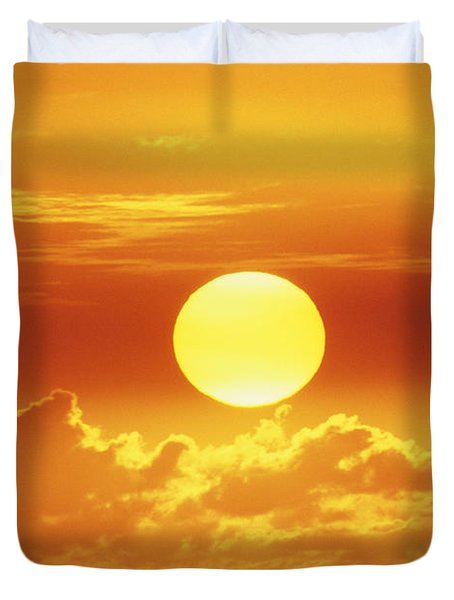 Huge Orange Sun Duvet Cover