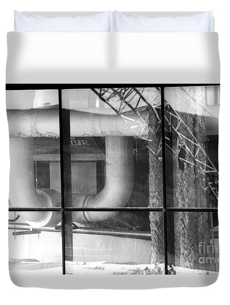 Duvet Cover featuring the photograph Huge White Pipes by Steven Macanka