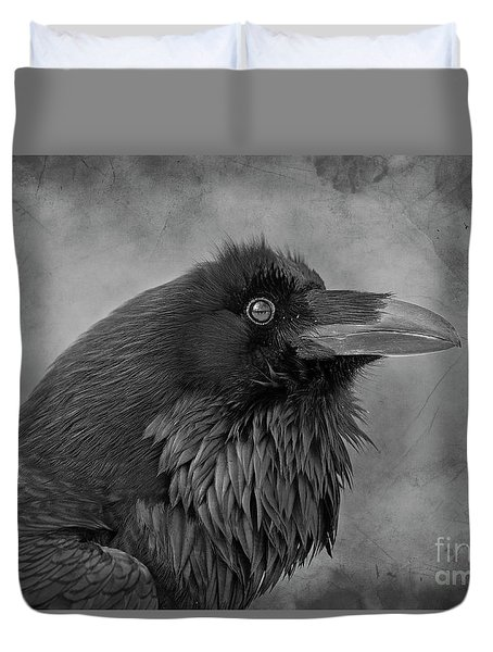 Duvet Cover featuring the photograph Huginn... by Nina Stavlund