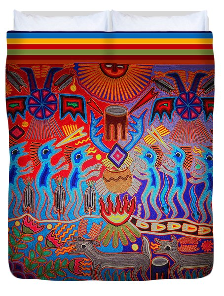 Duvet Cover featuring the digital art Huichol Tribal Fire Ritual by Vagabond Folk Art - Virginia Vivier
