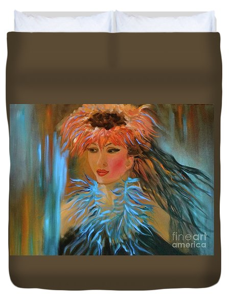 Hula In Turquoise Duvet Cover by Jenny Lee