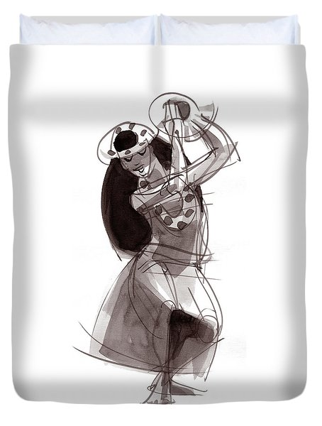 Duvet Cover featuring the painting Hula Dancer Alika by Judith Kunzle