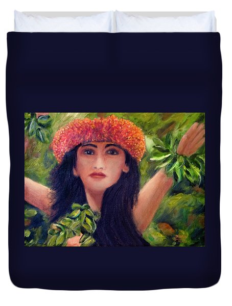 Hula Dancer Kahiko #422 Duvet Cover by Donald k Hall