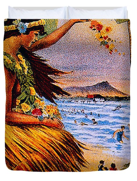 Hula Flower Girl 1915 Duvet Cover