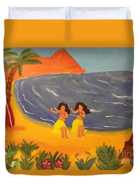 Hula Girls Duvet Cover