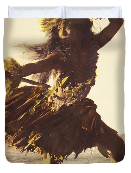 Hula In A Ti Leaf Skirt Duvet Cover by Himani - Printscapes