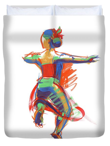 Duvet Cover featuring the painting Hula Wahine Ikaika by Judith Kunzle