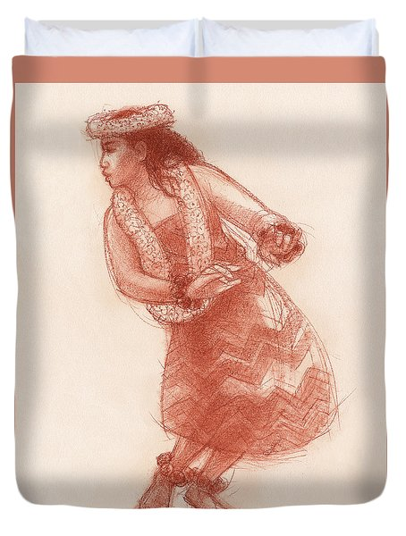 Duvet Cover featuring the drawing Hula Waikoloa by Judith Kunzle