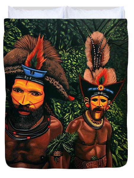 Huli Men In The Jungle Of Papua New Guinea Duvet Cover