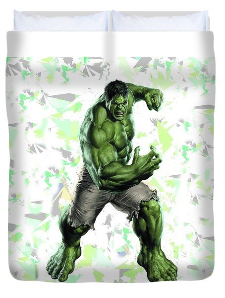 Duvet Cover featuring the mixed media Hulk Splash Super Hero Series by Movie Poster Prints