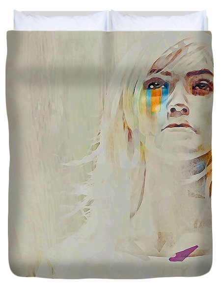Duvet Cover featuring the digital art Human by Galen Valle
