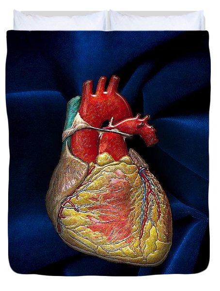 Human Heart Over Blue Velvet Duvet Cover