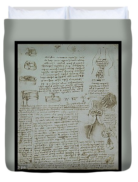 Duvet Cover featuring the painting Human Study Notes by James Christopher Hill