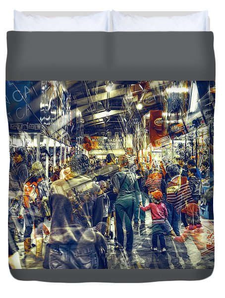 Duvet Cover featuring the photograph Human Traffic by Wayne Sherriff